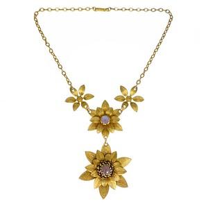 Vintage Mid Century Saphiret Glass Floral Gold Tone Necklace