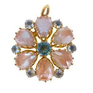 Antique Edwardian Saphiret Faceted Glass Flower Pendant
