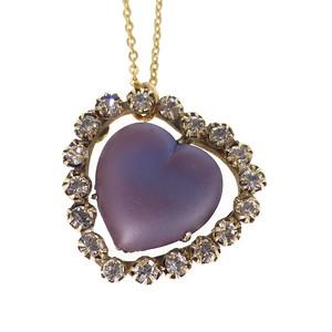 Antique Edwardian Saphiret Glass Heart Conversion Pendant Necklace