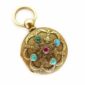 Antique 9ct Gold Turquoise & Ruby Engraved Locket Swiss Pocket Watch Case - Abraham Vacheron Girod