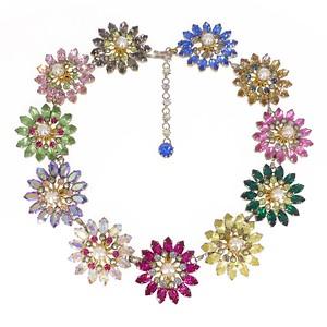 Vintage Mid Century Austrian Floral Paste Rhinestone Aurora Borealis Necklace