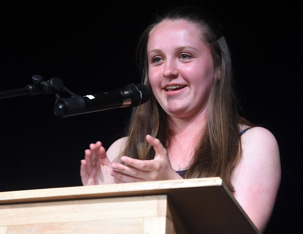 . Sydney Mayhew was one of the class speakers at the Nederland Middle School 8th Grade Continuation Ceremony on Friday.  For more photos, go to www.dailycamera.com.  Cliff Grassmick  Staff Photographer May 26, 2017