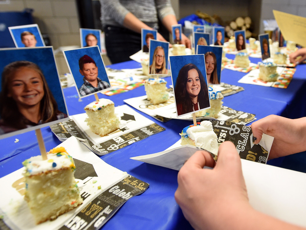 . Each student had a photo of themselves on their piece of cake at the Nederland Middle School 8th Grade Continuation Ceremony on Friday.  For more photos, go to www.dailycamera.com.  Cliff Grassmick  Staff Photographer May 26, 2017