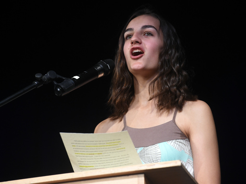 . Maya Beauvineau  was one of the class speakers at the Nederland Middle School 8th Grade Continuation Ceremony on Friday.  For more photos, go to www.dailycamera.com.  Cliff Grassmick  Staff Photographer May 26, 2017