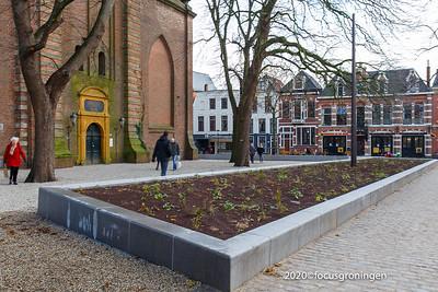 nederland 2020, groningen, akerkhof, herinrichting voor der Aa-Kerk toren