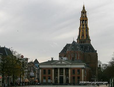 nederland 2008, groningen, akerkhof, der aa-kerk en korenbeurs