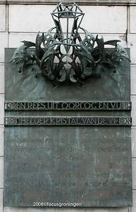 nederland 2008, groningen, grote markt stadhuis, bevrijdingsherinnering