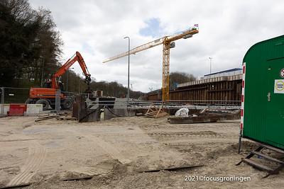 nederland 2021, groningen, helperzoom, werkzaamheden ring zuid