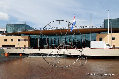 nederland 2015, groningen, hanzeplein, umcg, dogtroep fiets