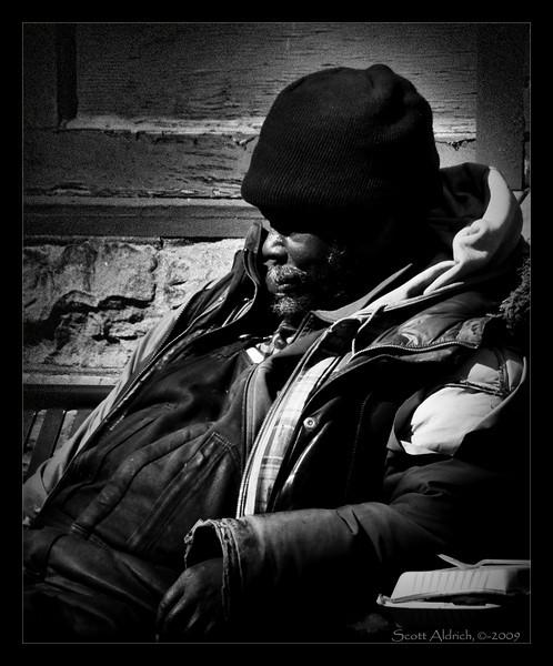 Street guy, snoozin' in downtown Denver