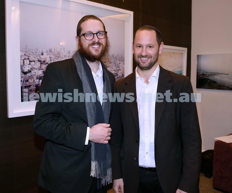 Nefesh Art Exhibition. Rabbi Aron Moss (left) & Larnce Gold. Pic Noel Kessel.