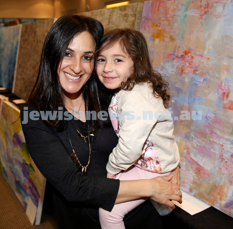Nefesh Art Exhibition. Monica Norris with her daughter Lielle. Pic Noel Kessel.