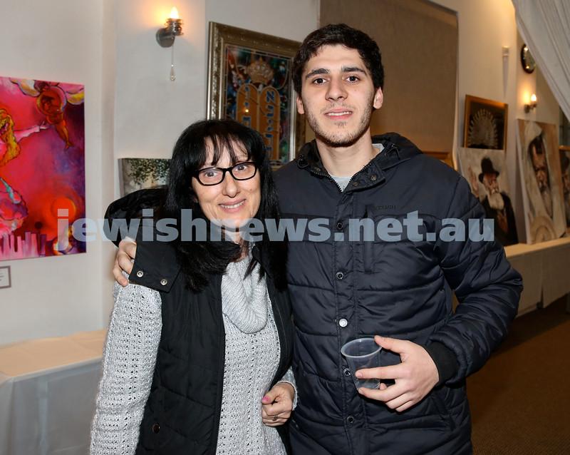 Nefesh Art Exhibition. Joyce Meschers and Josh Cesana. Pic Noel Kessel