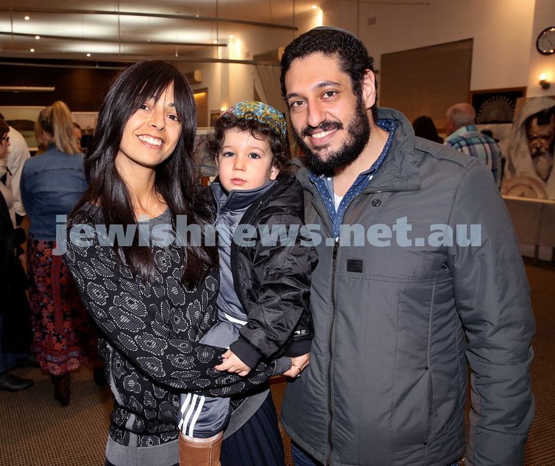Nefesh Art Exhibition. Leyat Reuben (left) with her son Joe and Husband Jack. Pic Noel Kessewl.