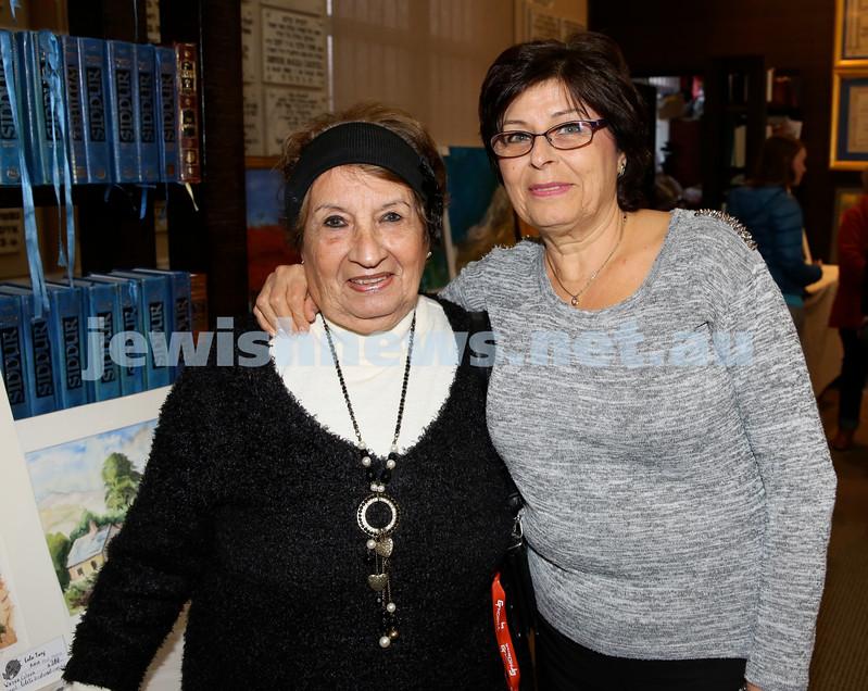 Nefesh Art Exhibition. Lola Tweg (left) & Yaffa Saddik. Pic Noel Kessel.