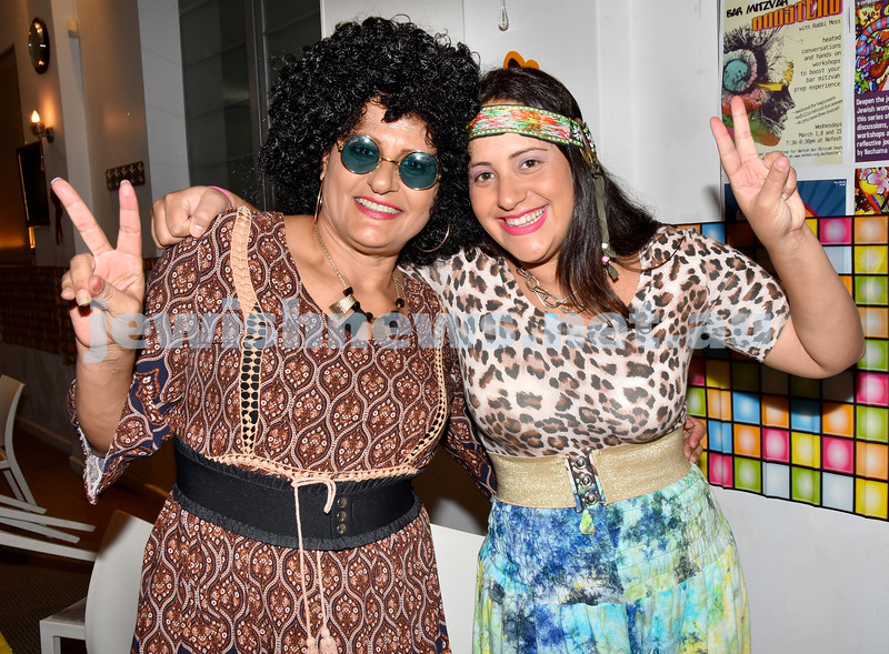 Purim at Nefesh Synagogue. Ruhama Ronyuk (left), Shiran Garber. Pic Noel Kessel