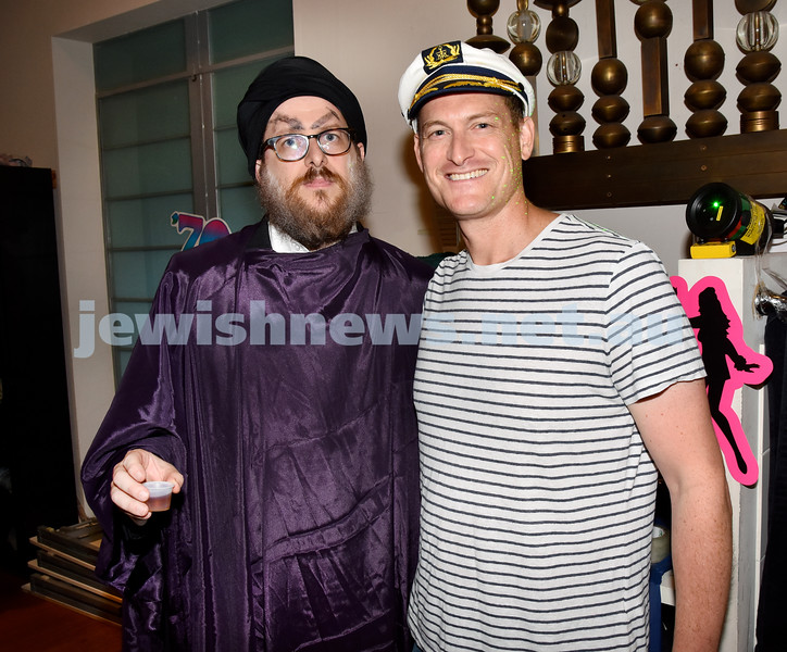 Purim at Nefesh Synagogue. Rabbi Aron Moss (left) with his brother Anthony. Pic Noel Kessel