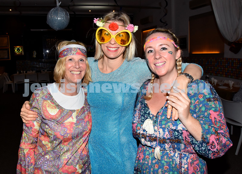 Purim at Nefesh Synagogue. From left: Libby Moss, Ruth Gold, Cat de Picardo. Pic Noel Kessel