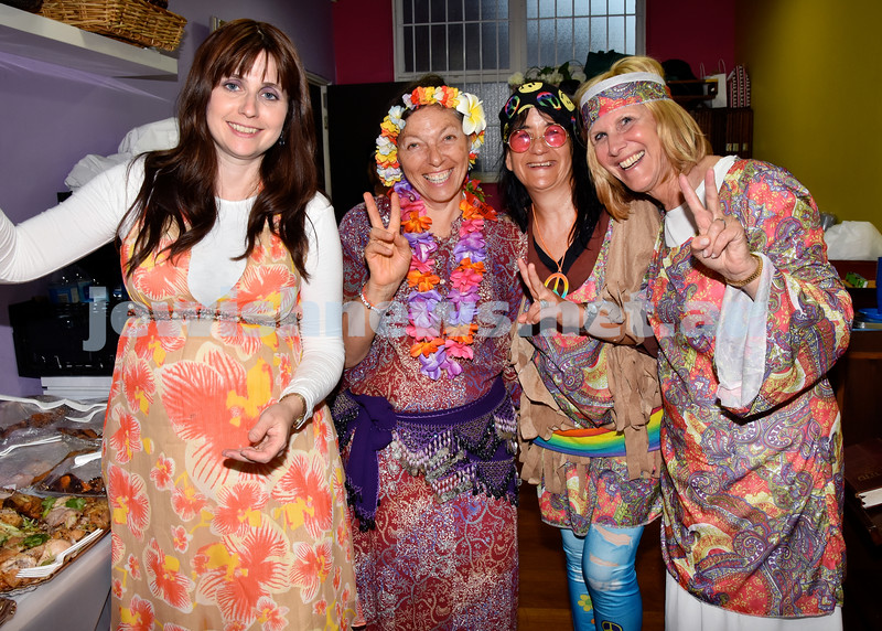 Purim at Nefesh Synagogue. From left: Nechama Dina Moss, Michelle Brenner, Beth Lipovic, Libby Moss. Pic Noel Kessel