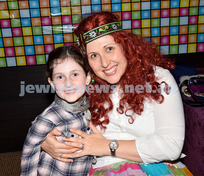 Purim at Nefesh Synagogue. Jasmin Bando with her daughter Layla. Pic Noel Kessel