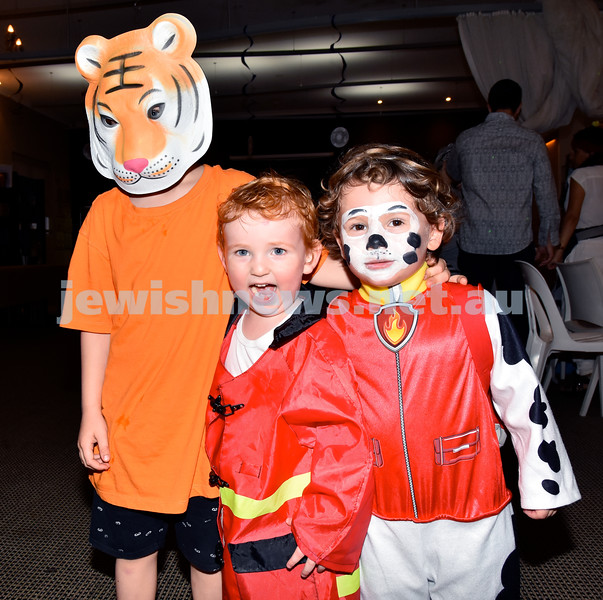 Purim at Nefesh Synagogue. From left: Felix Gold, Amiel Gold, Shay Diamond. Pic Noel Kessel