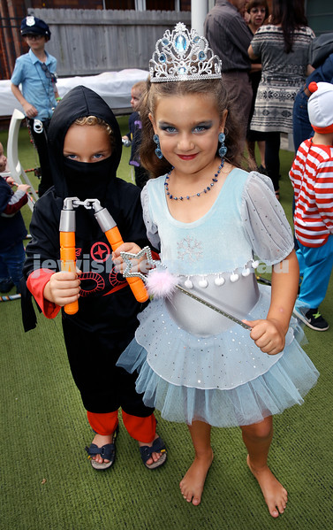 Kids Purim Party at Nefesh. (from left) Noam & Daniella Yudasin. Pic Noel Kessel.