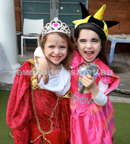 Kids Purim Party at Nefesh. (from left) Golda & Chana Moss. Pic Noel Kessel.