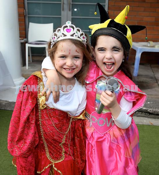 Kids Purim Party at Nefesh. (from left) Golda & Chana Moss. Pic Noel Kessel.