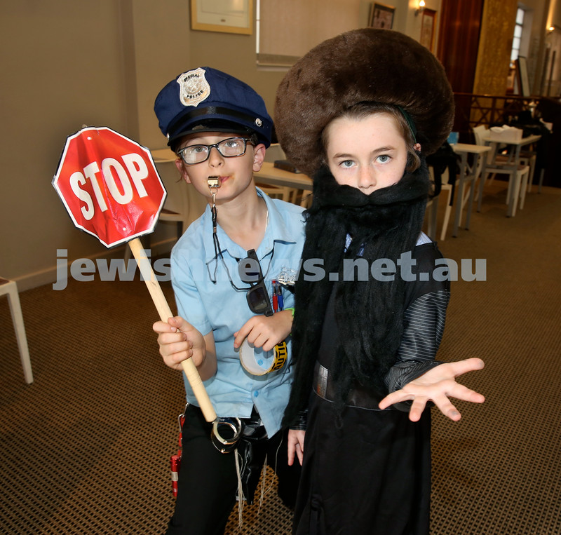 Kids Purim Party at Nefesh.(from left) Rolly & Mendel Moss. Pic Noel Kessel.