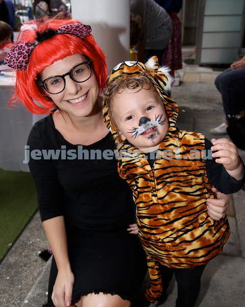 Kids Purim Party at Nefesh. Janine Diamond with her son Shai. Pic Noel Kessel.