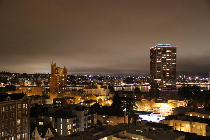 Cloud cover at night - Lake Merritt, Bellevue-Staten Building, Bellevue Towers