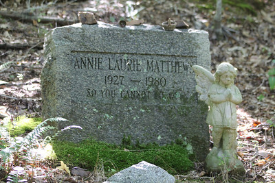 Headstone of Annie Laurie Matthews in Piney Mountain - love the little items people leave atop the marker