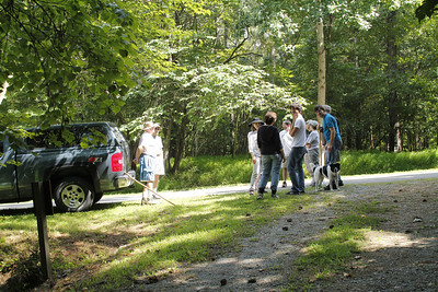 neighbors gather 8/2013 for walk-about with Clayton Davis, whose family once owned about 40 acres of Piney Mountain land