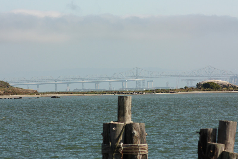 Bay Bridge through the fog, July 3, 2009