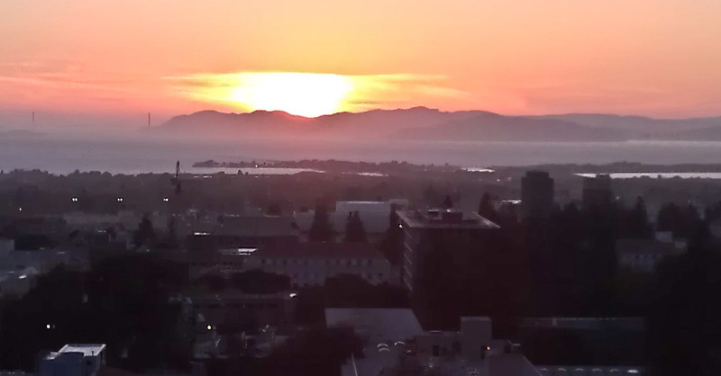 Sunset over the bay, from the penthouse at U.C. Memorial Stadium