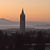 The Campanile at sunset, from the penthouse at U.C. Memorial Stadium
