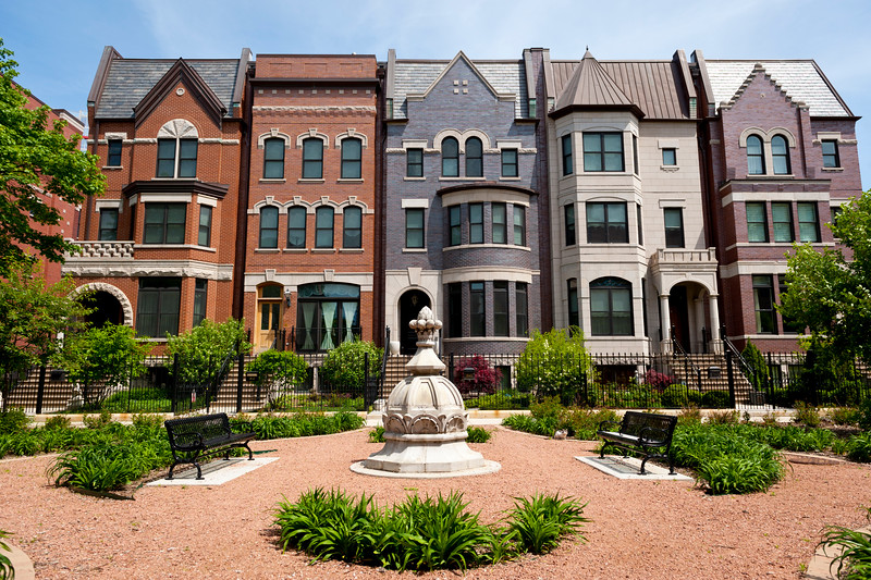 Row houses in the historic Prairie Avenue District.