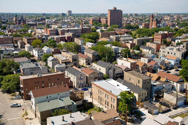 Aerial view of Chicago's Noble Square and Ukrainian Village neighborhoods.