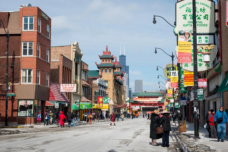 Wentworth Avenue in Chicago's Chinatown neighborhood