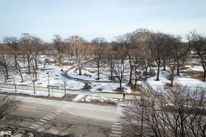 Aerial of Jackson Park site of Obama Presidential Center winter Stony Island Woodlawn neighborhood