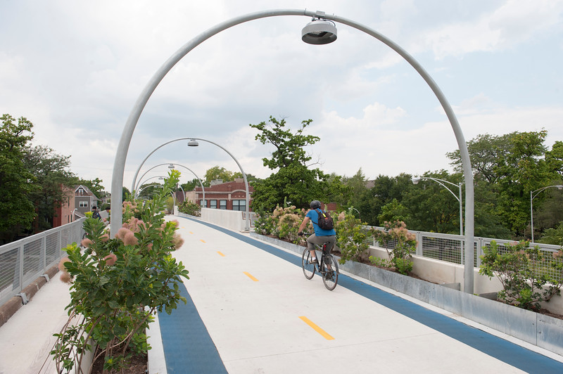 A Cyclist on the 606 Trail