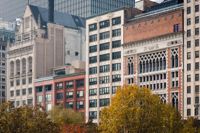 The Historic Michigan Boulevard District landmarks including the Gage Group by Louis Sullivan and Holabird and Roche; and Chicago Athletic Association building by Henry Ives Cobb historic architecture Michigan Avenue streetwall