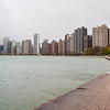 Skyline from North Avenue beach spring fog lakefront shoreline