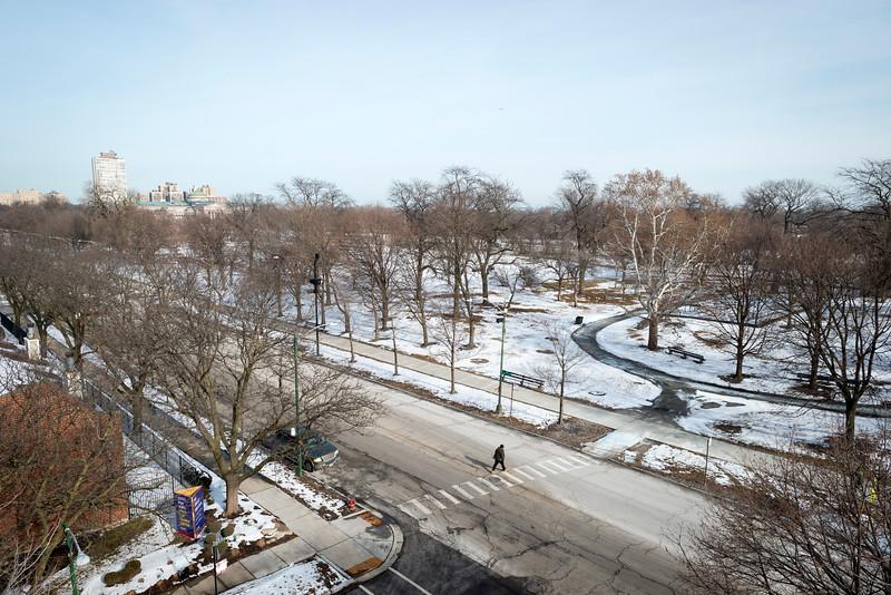 Aerial of Jackson Park site of Obama Presidential Center winter Stony Island Woodlawn neighborhood
