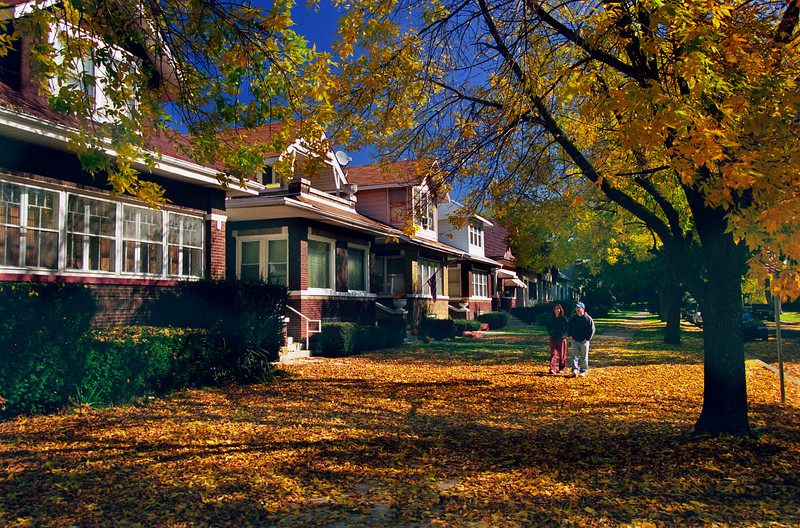 Chicago style bungalows in the fall