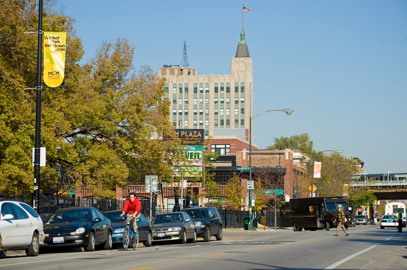 A bike rider travels south bound in the Wicker Park Neighborhood on Chicago's north side.