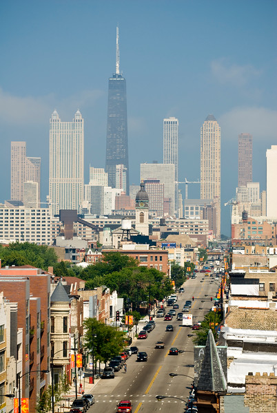 Chicago's near-west side neighborhoods and the city skyline.