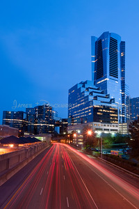 """Buckhead office buildings looking from the north looking south over Georgia 400 """"tollway""""."""