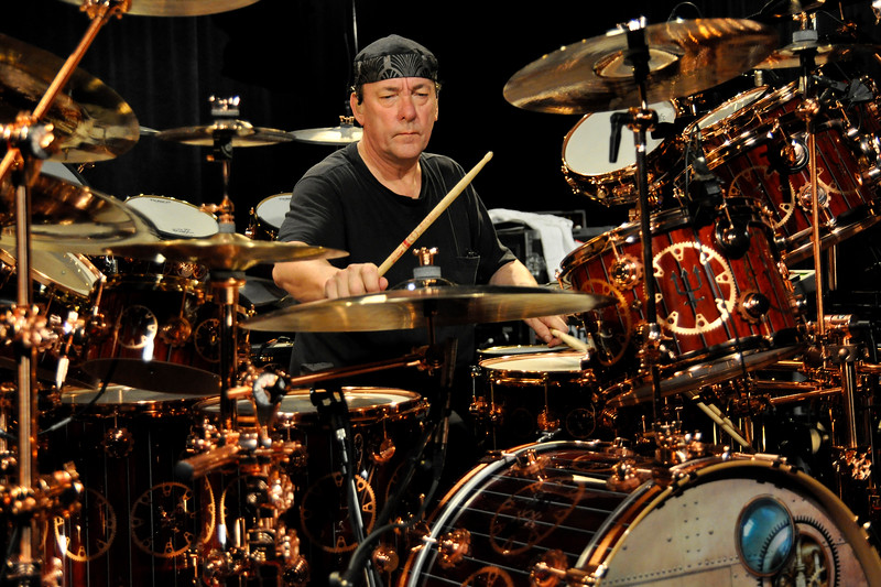 OXNARD, CA-MAY 12: Neil Peart performs on the Drum Channel soundstage in Oxnard, CA on May 12, 2010. (Photo by Clayton Call/Redferns)