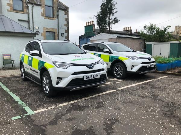 Toyota RAV4's @ base ready to answer emergency calls